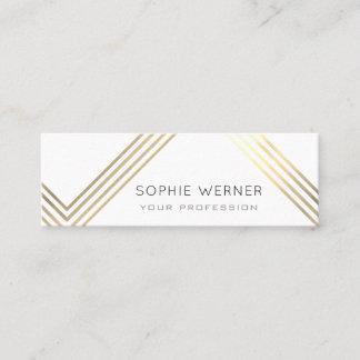 modern faux gold stripes on elegant white mini business card