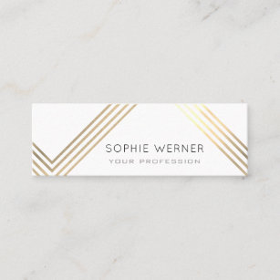 White and gold business cards zazzle modern faux gold stripes on elegant white mini business card colourmoves