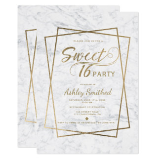 Modern faux gold typography marble Sweet 16 Card