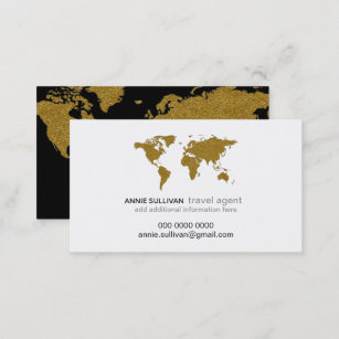 Modern Faux Gold World Map Prof Travel Agent Business Card