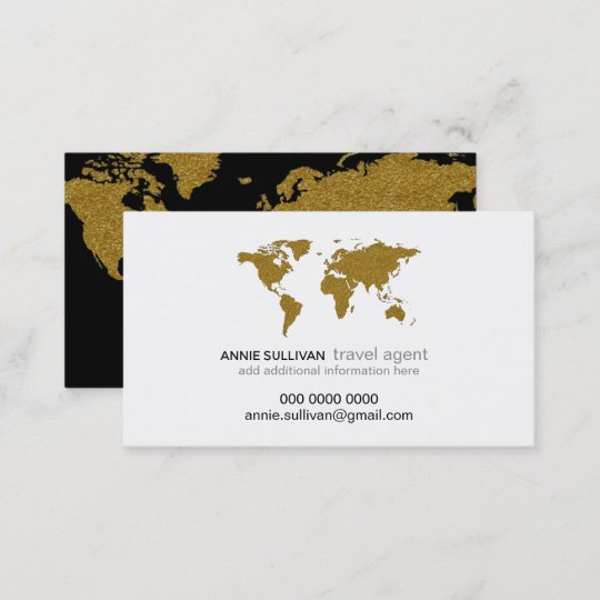 Modern faux gold world map prof travel agent business card zazzle modern faux gold world map prof travel agent business card colourmoves