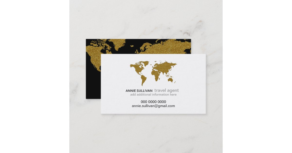 modern faux gold world map prof. travel agent business card | Zazzle.com
