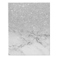 Modern faux grey silver glitter ombre white marble faux canvas print