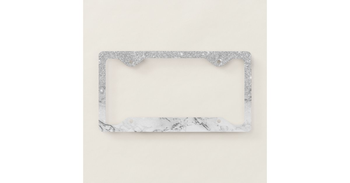 Modern faux grey silver glitter ombre white marble license plate ...