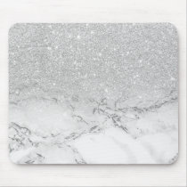 Modern faux grey silver glitter ombre white marble mouse pad