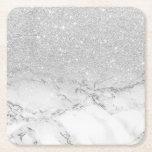 """Modern faux grey silver glitter ombre white marble square paper coaster<br><div class=""""desc"""">Modern faux grey silver glitter ombre white marble</div>"""