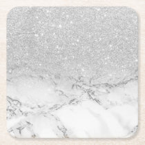 Modern faux grey silver glitter ombre white marble square paper coaster