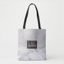 Modern faux grey silver glitter ombre white marble tote bag