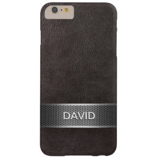 Modern Faux Leather & Steel Belt Custom Name Barely There iPhone 6 Plus Case