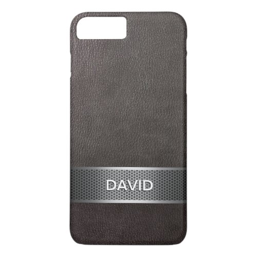 Modern Faux Leather & Steel Belt Custom Name Phone Case