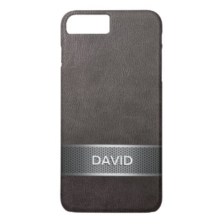 Modern Faux Leather & Steel Belt Custom Name iPhone 7 Plus Case