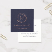 Modern Faux Rose Gold Abstract Monogram Square Business Card