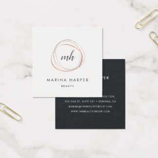 Modern Faux Rose Gold Abstract Square Business Card