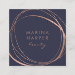 """Modern Faux Rose Gold Abstract Square Business Card<br><div class=""""desc"""">Striking midnight blue business cards in a unique square shape leave a modern impression. Front side features an abstract element in faux rose gold, encircling two custom text fields for your name and title or business name. Add your full contact details to the reverse side. Suitable for any occupation; example...</div>"""