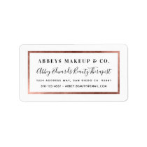 Modern Faux Rose Gold Border Business Label