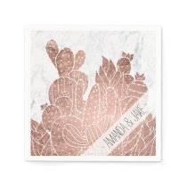 Modern faux rose gold cactus marble pattern napkin