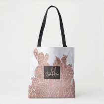 Modern faux rose gold cactus marble pattern tote bag