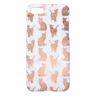 Modern faux rose gold cats pattern white marble iPhone 8/7 case