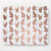 Modern faux rose gold cats pattern white marble mouse pad