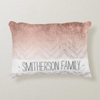 Modern faux rose gold chevron sticth ombre pattern decorative pillow