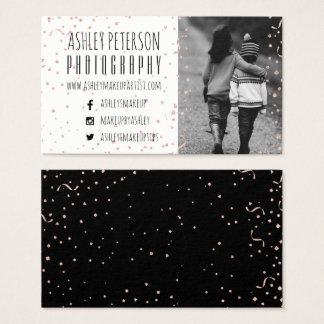 Modern faux rose gold confetti photography business card