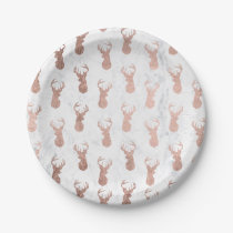 Modern faux rose gold deer pattern white marble paper plate
