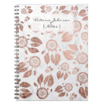 Modern faux rose gold dreamcatcher feathers marble notebook