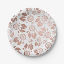 Modern faux rose gold dreamcatcher feathers marble paper plate