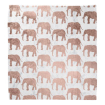 Modern faux rose gold elephants white marble bandana