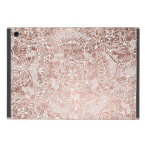 Modern faux rose gold floral mandala hand drawn cover for iPad mini