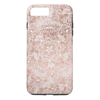 Modern faux rose gold floral mandala hand drawn iPhone 8 plus/7 plus case