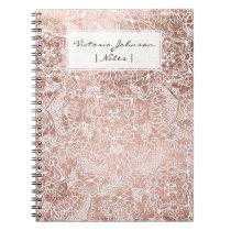 Modern faux rose gold floral mandala illustration notebook