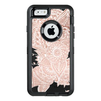 Modern Faux Rose Gold Floral Mandala Illustration Otterbox Defender Iphone Case by girly_trend at Zazzle