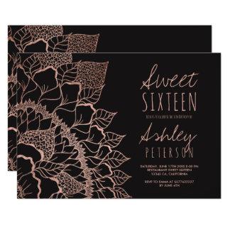 Modern faux rose gold floral mandala Sweet 16 Card