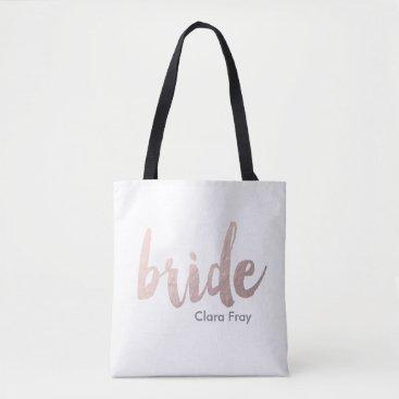 elipsa modern faux rose gold foil bride tote bag