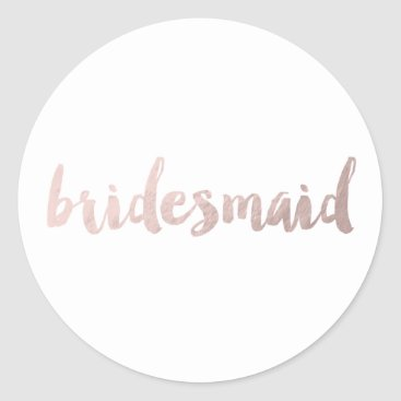 elipsa modern faux rose gold foil bridesmaid classic round sticker