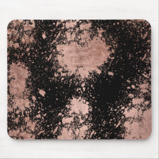 Modern faux rose gold foil brushstrokes black mouse pad