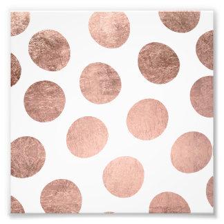 Modern faux rose gold foil hand drawn polka dots photo print