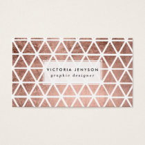 Modern faux rose gold foil triangles pattern business card