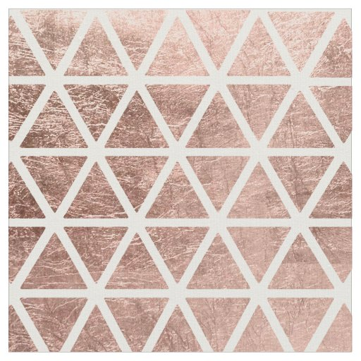 Modern Faux Rose Gold Foil Triangles Pattern Fabric