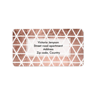 Modern faux rose gold foil triangles pattern label