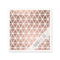 Modern faux rose gold foil triangles pattern napkin