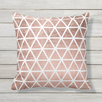 Modern faux rose gold foil triangles pattern outdoor pillow