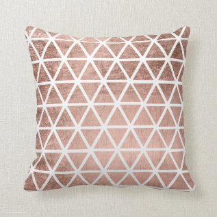 Modern Faux Rose Gold Foil Triangles Pattern Throw Pillow at Zazzle