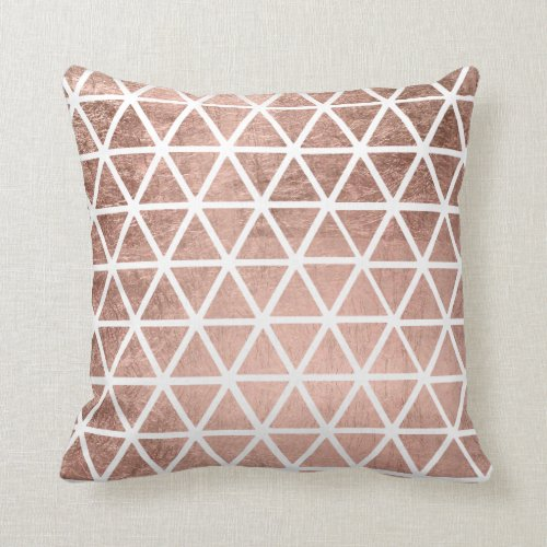 Rose Gold Foil Triangles Pattern Throw Pillow