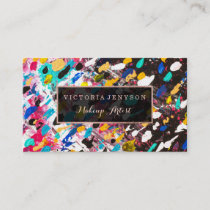 Modern faux rose gold frame acrylic Makeup artist Business Card