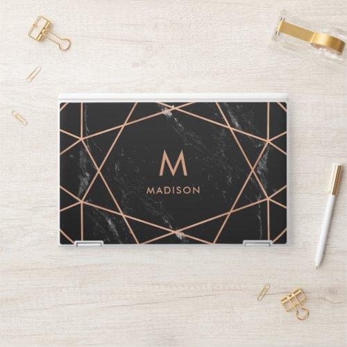 Modern Faux Rose Gold Geometric and Black Marble HP Laptop Skin