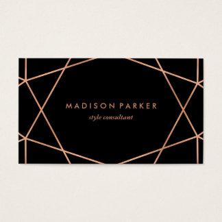 Modern Faux Rose Gold Geometric on Black Business Card