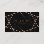 """Modern Faux Rose Gold Geometric on Black Marble Business Card<br><div class=""""desc"""">This stylish business card features a black marble look background with a faux rose gold geometric design. Personalize with your information on both the front and the back.</div>"""
