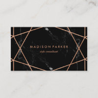 Modern Faux Rose Gold Geometric on Black Marble Business Card